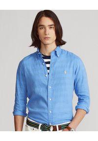 Ralph Lauren - RALPH LAUREN - Niebieska koszula Slim Fit. Typ kołnierza: polo. Kolor: niebieski. Materiał: len. Wzór: haft