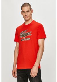 Lacoste - T-shirt. Okazja: na co dzień. Kolor: czerwony. Materiał: dzianina. Wzór: aplikacja. Styl: casual