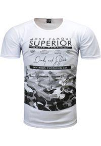 Biały t-shirt z nadrukiem Recea z krótkim rękawem, na co dzień, casualowy