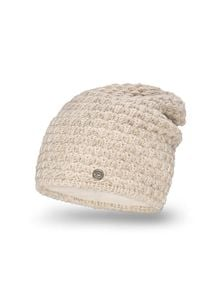 Zimowa czapka damska PaMaMi - Beżowy. Kolor: beżowy. Materiał: poliamid, akryl. Wzór: ze splotem. Sezon: zima. Styl: casual, sportowy