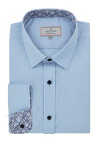 Niebieska elegancka koszula Victorio długa, z długim rękawem, ze stójką