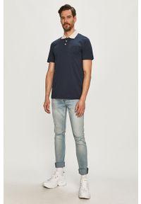 Niebieska koszulka polo Selected krótka, casualowa