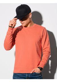 Ombre Clothing - Bluza męska bez kaptura B1153 - koralowa - XXL. Typ kołnierza: bez kaptura. Kolor: pomarańczowy. Materiał: bawełna, jeans, poliester. Styl: klasyczny, elegancki