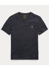 Ralph Lauren - RALPH LAUREN - Koszulka z krótkim rękawem. Typ kołnierza: polo. Kolor: czarny. Materiał: bawełna. Długość rękawa: krótki rękaw. Długość: krótkie. Wzór: haft