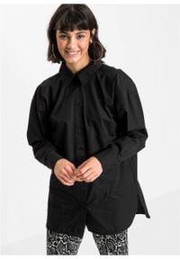 Długa bluzka z ozdobnym sznurowaniem z tyłu bonprix czarny. Typ kołnierza: kołnierzyk koszulowy. Kolor: czarny. Długość: długie #4