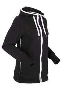 Bluza rozpinana z kapturem bonprix czarno-biały. Typ kołnierza: kaptur. Kolor: czarny