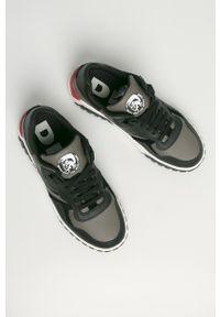 Szare sneakersy Diesel na sznurówki, z okrągłym noskiem