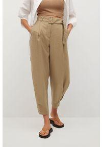 Brązowe spodnie materiałowe mango gładkie, z podwyższonym stanem