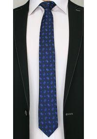 Stylowy Krawat Męski w Oryginalny Wzór PAISLEY- 6 cm - Angelo di Monti, Granatowy. Kolor: niebieski. Wzór: paisley. Styl: elegancki