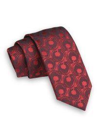Ciemny Czerwony Krawat -Angelo di Monti- 6 cm, Męski, w Koła, Wzór Geometryczny. Kolor: czerwony. Wzór: geometria. Styl: wizytowy, elegancki