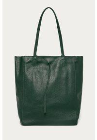 Zielona shopperka Answear Lab skórzana, na ramię