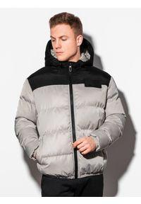 Ombre Clothing - Kurtka męska zimowa pikowana C458 - szara - XXL. Kolor: szary. Materiał: poliester. Sezon: zima