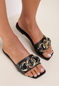 Renee - Czarne Klapki Sabripise. Nosek buta: otwarty. Kolor: czarny. Wzór: aplikacja. Obcas: na obcasie. Wysokość obcasa: niski