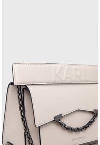 Karl Lagerfeld - Torebka 205W3067. Kolor: beżowy. Rodzaj torebki: na ramię