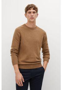 Brązowy sweter Mango Man na co dzień, casualowy