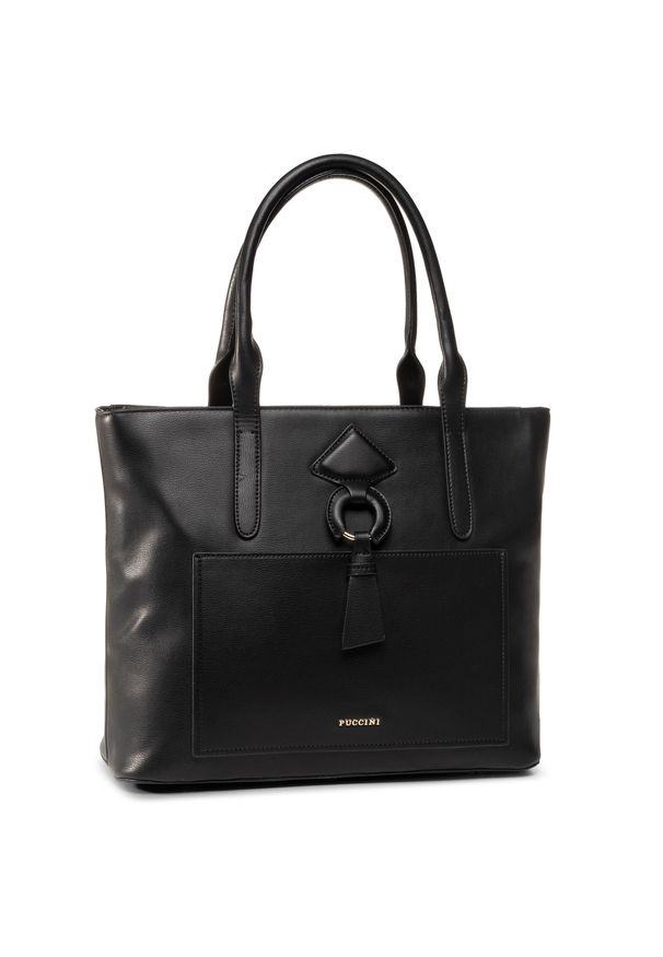 Czarna torebka klasyczna Puccini skórzana, klasyczna