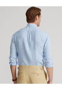 Ralph Lauren - RALPH LAUREN - Niebieska koszula z lnu Custom Fit. Typ kołnierza: polo. Kolor: niebieski. Materiał: len. Długość rękawa: długi rękaw. Długość: długie. Wzór: haft, prążki. Styl: klasyczny #3