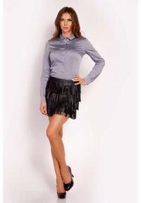 Lou-Lou - Szara Koszula Zapinana na Biżuteryjne Guziki. Kolor: szary. Materiał: elastan, nylon, bawełna
