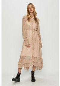 Różowa sukienka AllSaints w grochy, na co dzień, prosta