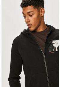 Czarna bluza rozpinana Karl Lagerfeld klasyczna, raglanowy rękaw