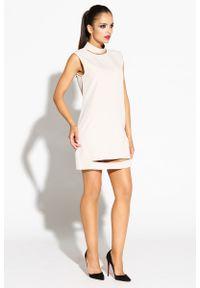 Beżowa sukienka wizytowa Dursi mini