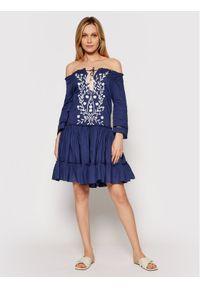 Niebieska sukienka casualowa, prosta, na co dzień