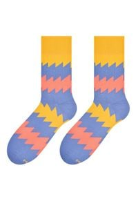 More - Szaroniebieskie skarpety męskie - zigzag SK186. Kolor: niebieski. Materiał: bawełna, poliamid, elastan