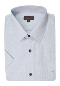 Niebieska elegancka koszula Jurel krótka, z krótkim rękawem, do pracy, melanż