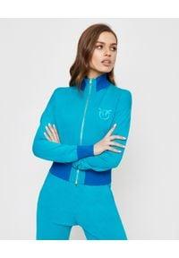 Pinko - PINKO - Niebieska bluza z logo Primato. Kolor: niebieski. Materiał: dresówka, wiskoza. Długość rękawa: długi rękaw. Długość: długie. Wzór: haft. Styl: elegancki