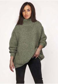 Zielony sweter oversize Lanti z golfem