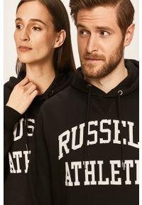 Czarna bluza Russell Athletic z kapturem, casualowa, na co dzień, z nadrukiem