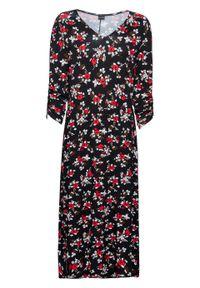 Sukienka z dżerseju z rękawami 3/4 bonprix czarno-biel wełny. Kolor: czarny. Materiał: jersey, wełna