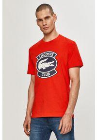 Lacoste - T-shirt. Okazja: na co dzień. Kolor: czerwony. Wzór: nadruk. Styl: casual