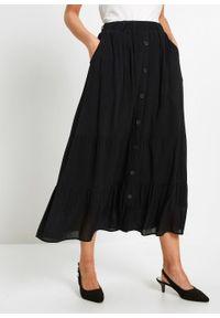 Spódnica z falban bonprix czarny. Kolor: czarny. Styl: klasyczny