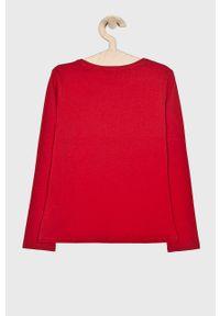 Czerwona bluzka Guess Jeans casualowa, z nadrukiem, długa, na co dzień