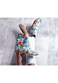 Botki Zapato z cholewką za kostkę, na lato, na co dzień, w kwiaty