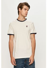 Biały t-shirt Fila z aplikacjami, z okrągłym kołnierzem