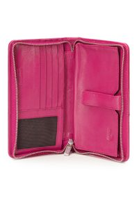 Wittchen - Damski portfel skórzany z kieszenią na telefon. Kolor: różowy. Materiał: skóra