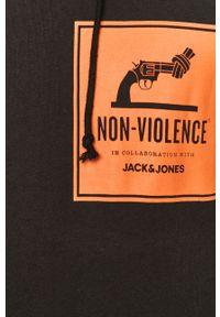 Czarna bluza nierozpinana Jack & Jones casualowa, z kapturem, na co dzień, z nadrukiem