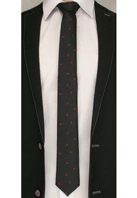 Czarny Elegancki Krawat w Czerwone Kwiaty -Angelo di Monti- 6 cm, Męski, Motyw Kwiatowy. Kolor: czerwony. Wzór: kwiaty. Styl: elegancki