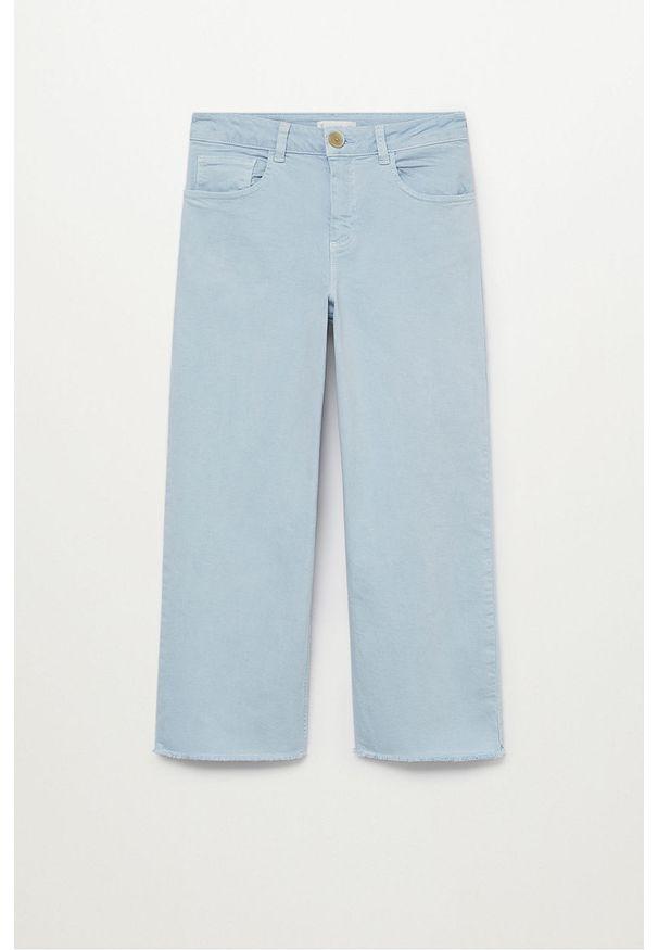 Niebieskie jeansy Mango Kids gładkie, z podwyższonym stanem