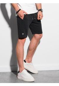 Ombre Clothing - Krótkie spodenki męskie dresowe W294 - czarne - XXL. Kolor: czarny. Materiał: dresówka. Długość: krótkie. Styl: klasyczny, sportowy