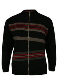 Czarny sweter Kings na jesień, ze stójką, w paski