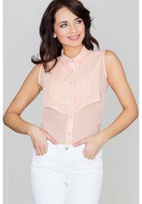 Różowa bluzka Katrus bez rękawów, z koszulowym kołnierzykiem