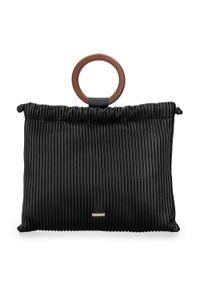 Czarna torebka worek Wittchen w kolorowe wzory, retro, na lato, na ramię