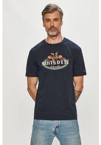 Niebieski t-shirt Scotch & Soda z nadrukiem, na co dzień, casualowy