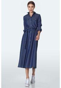 Nife - Szmizjerka z Kieszeniami - Jeans. Materiał: jeans. Typ sukienki: szmizjerki