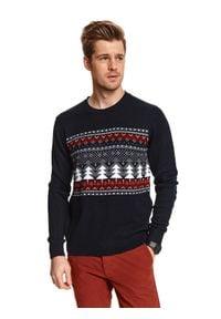 TOP SECRET - Sweter z motywem świątecznym. Kolor: niebieski. Materiał: materiał. Długość rękawa: długi rękaw. Długość: długie. Wzór: nadruk. Sezon: zima. Styl: wizytowy