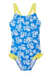 Kostium kąpielowy dziewczęcy bonprix niebiesko-biało-żółty. Kolor: niebieski. Wzór: nadruk