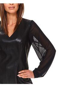 Czarna sukienka TOP SECRET koszulowa, z dekoltem w serek